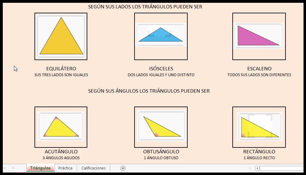 En esta pestaña nos encontramos con las diferentes clasificaciones de triángulos que tenemos